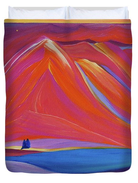 Duvet Cover featuring the painting Travelers Pink Mountains by First Star Art