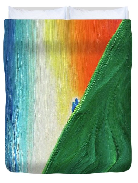 Duvet Cover featuring the painting Travelers Rainbow Waterfall By Jrr by First Star Art