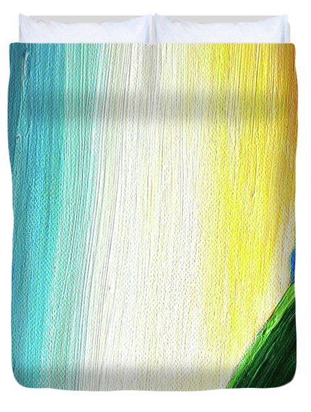 Duvet Cover featuring the painting Travelers Rainbow Waterfall Detail by First Star Art