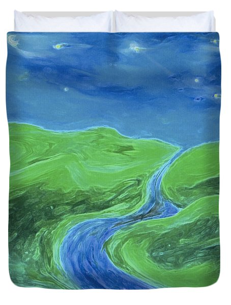 Duvet Cover featuring the painting Travelers Upstream By Jrr by First Star Art