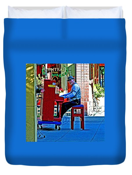 Traveling Piano Player Duvet Cover