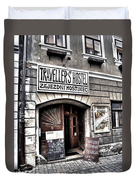 Duvet Cover featuring the photograph Travellers Hostel - Cesky Krumlov by Juergen Weiss