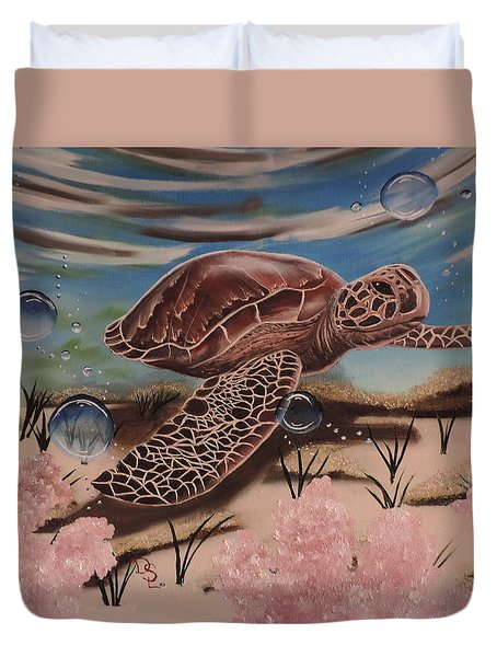 Duvet Cover featuring the painting Travis by Dianna Lewis