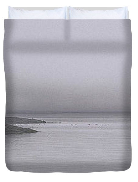 Duvet Cover featuring the photograph Trawler In Fog by Marty Saccone