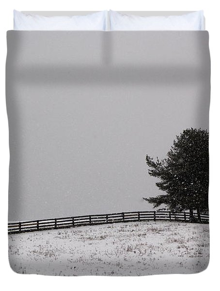 Tree And Fence In Snow Storm Duvet Cover