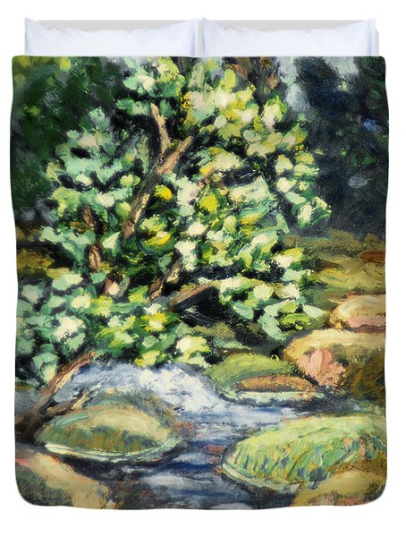 Tree And Stream Duvet Cover