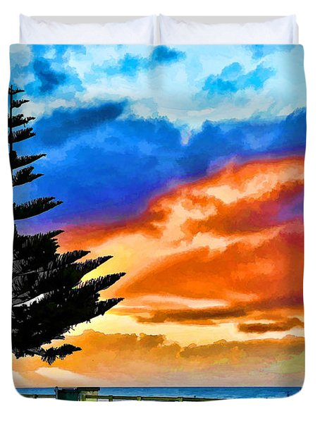 Tree And Sunset Duvet Cover