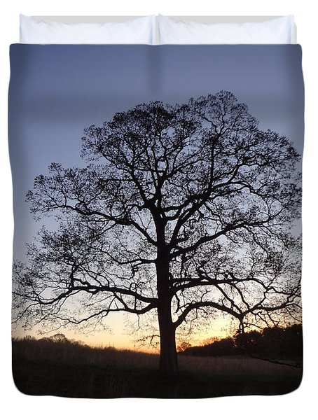 Duvet Cover featuring the photograph Tree At Dawn by Michael Porchik