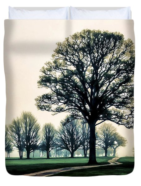 Tree At Dawn On Golf Course Duvet Cover