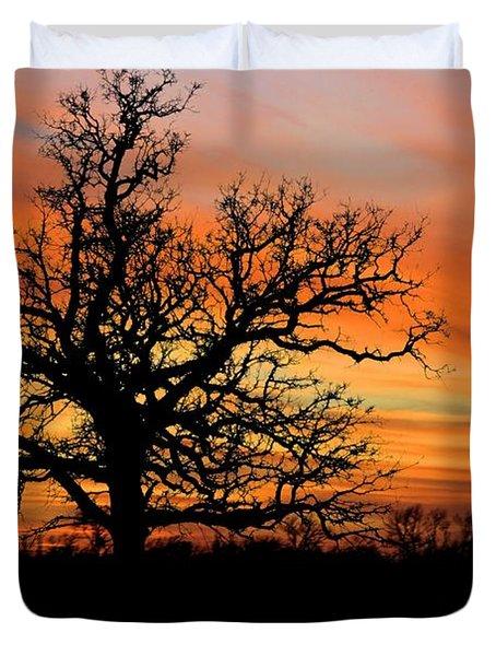Tree At Sunset Duvet Cover