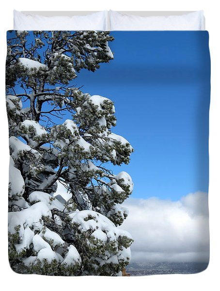 Duvet Cover featuring the photograph Tree At The Grand Canyon by Laurel Powell