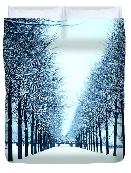 Tree Avenue In Snow Duvet Cover