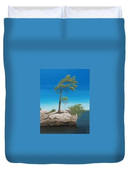 Tree In Rock Duvet Cover by Kenneth M  Kirsch