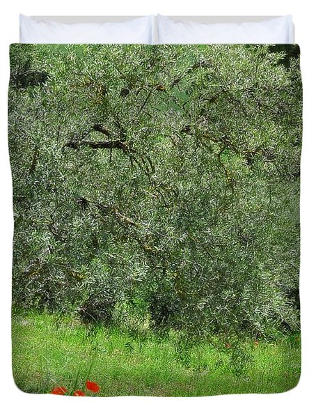 Tree In The Meadow Near Ronda  Duvet Cover by Mary Machare