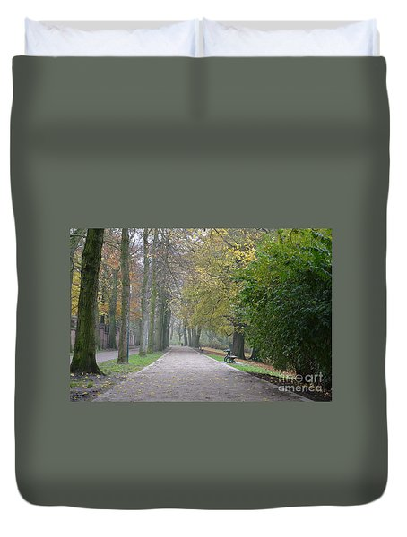 Duvet Cover featuring the photograph Tree Lined Path In Fall Season Bruges Belgium by Imran Ahmed