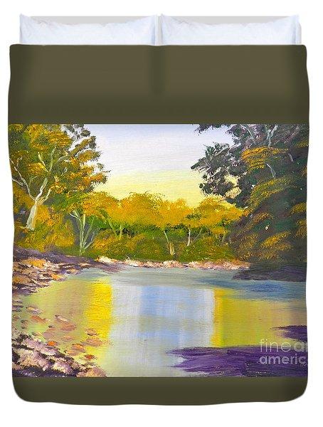 Tree Lined River Duvet Cover
