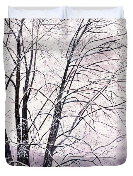 Duvet Cover featuring the painting Tree Memories by Melly Terpening