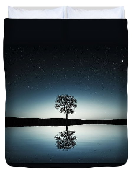 Tree Near Lake At Night Duvet Cover