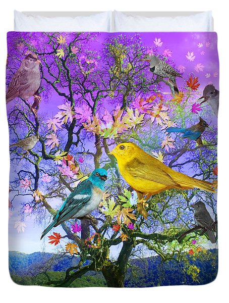 Tree Of Happiness Duvet Cover by Alixandra Mullins