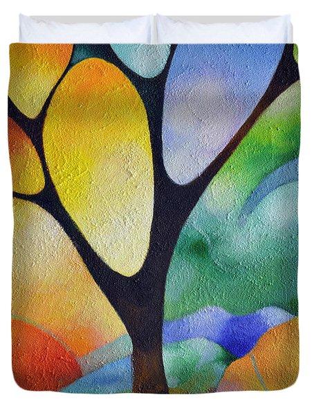 Tree Of Joy Duvet Cover by Sally Trace