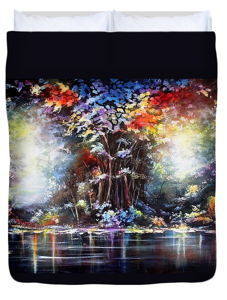 Duvet Cover featuring the painting Tree Of Life 2 by Patricia Lintner