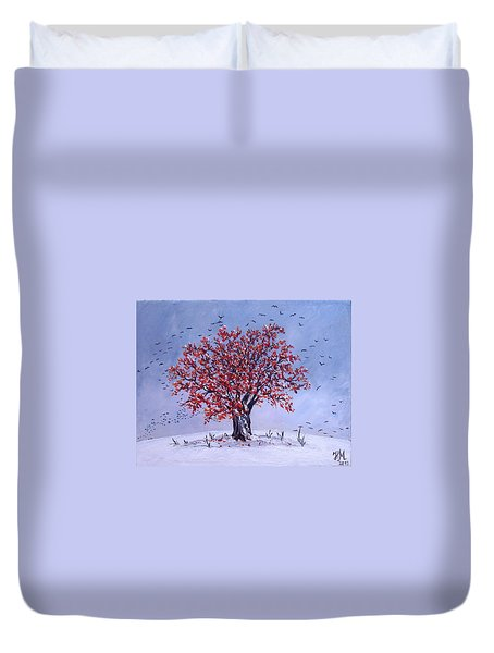 Duvet Cover featuring the painting Tree Of Life by Nina Mitkova
