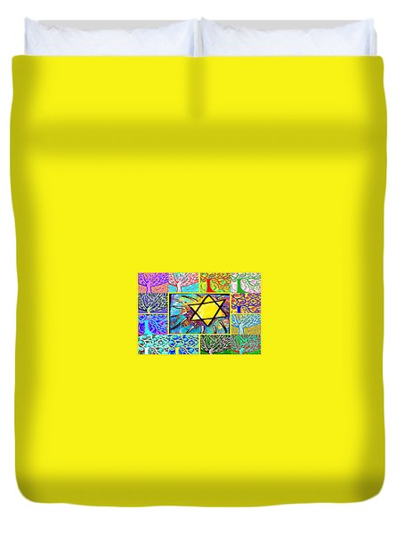 -tree Of Life Star Duvet Cover by Sandra Silberzweig