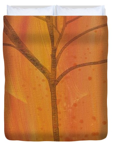 Duvet Cover featuring the painting Tree Of Three Coral by Robin Maria Pedrero