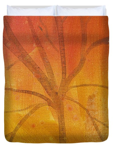 Duvet Cover featuring the painting Tree Of Three Gold by Robin Maria Pedrero