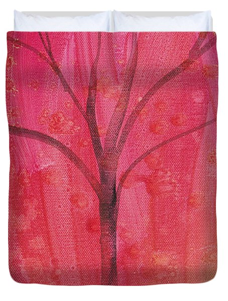 Duvet Cover featuring the painting Tree Of Three Pink by Robin Maria Pedrero
