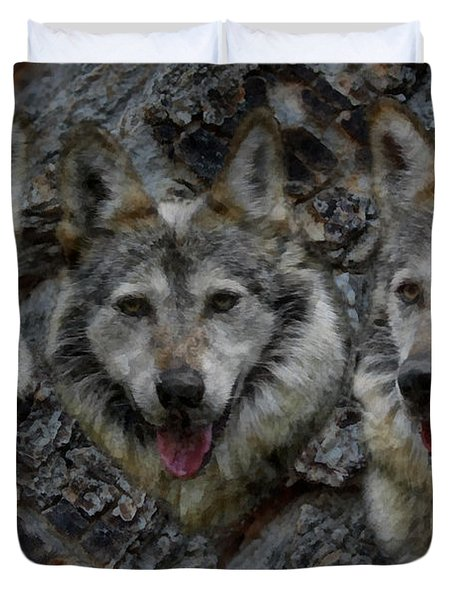 Tree Of Wolves Duvet Cover by Ernie Echols