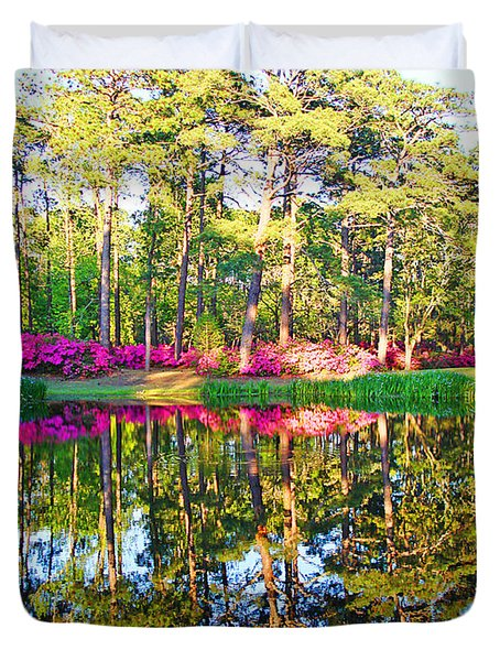 Tree Reflections And Pink Flowers By The Blue Water By Jan Marvin Studios Duvet Cover