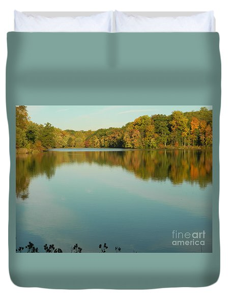 Duvet Cover featuring the photograph Tree Reflections by Emmy Marie Vickers