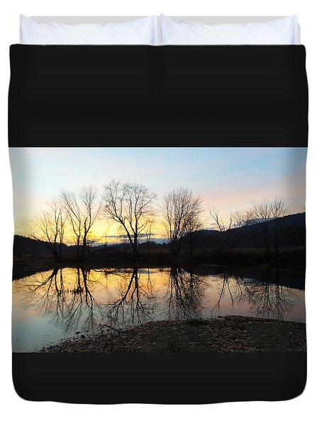 Tree Reflections Landscape Duvet Cover