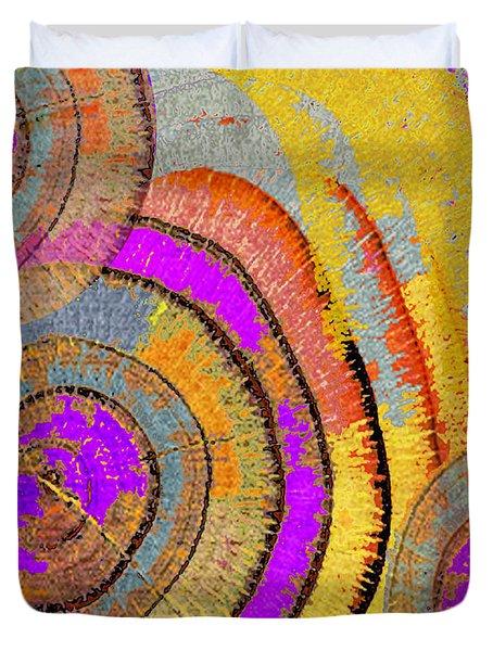 Tree Ring Abstract Horizontal Duvet Cover by Tony Rubino
