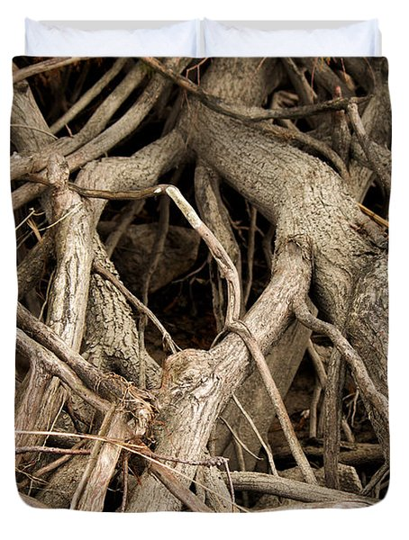 Duvet Cover featuring the photograph Tree Root Tango by Rebecca Davis