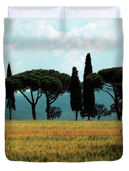 Tree Row In Tuscany Duvet Cover by Heiko Koehrer-Wagner