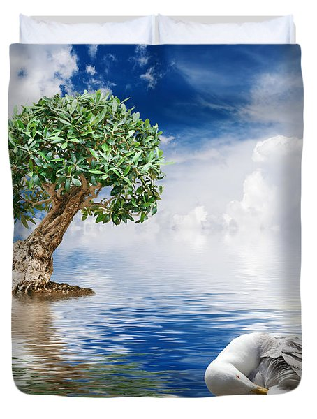 Tree Seagull And Sea Duvet Cover by Antonio Scarpi