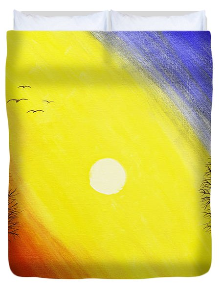 Tree Silhouette At Sunset Painting Duvet Cover by Keith Webber Jr