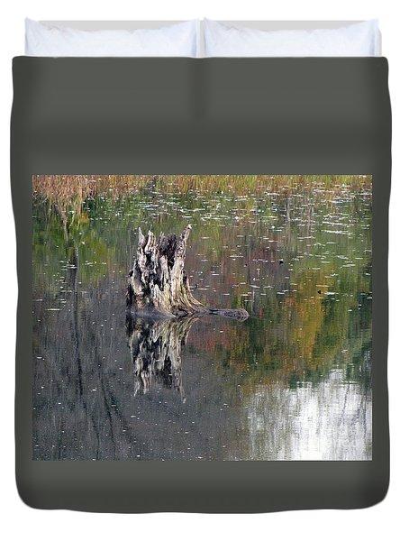 Tree Stump In Lake Katherine Duvet Cover by Cedric Hampton