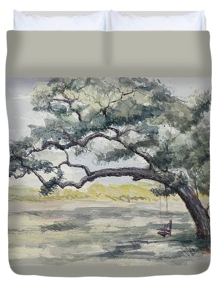 Da187 Tree Swing Painting By Daniel Adams Duvet Cover