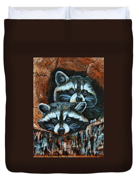 Tree Trunk Raccoons Duvet Cover