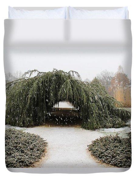 Tree Tunnel Duvet Cover by Karen Silvestri
