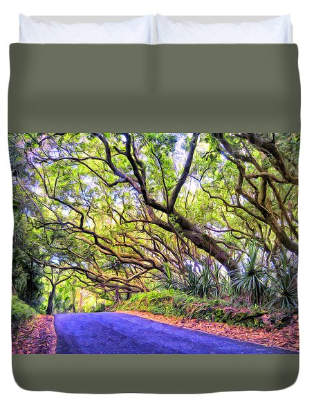 Tree Tunnel On The Big Island Duvet Cover