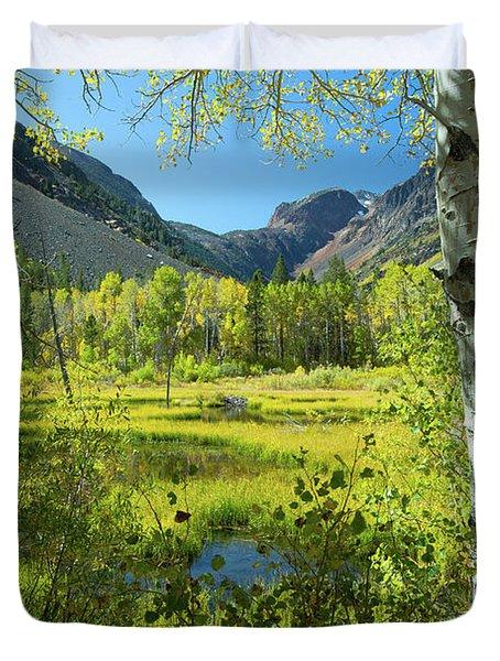 Tree With Mountain Range Duvet Cover