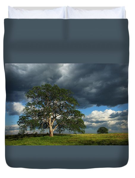 Tree With Storm Clouds Duvet Cover