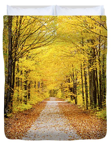 Trees Along A Pathway In Autumn Duvet Cover
