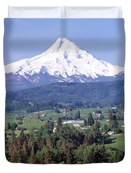 Trees And Farms With A Snowcapped Duvet Cover