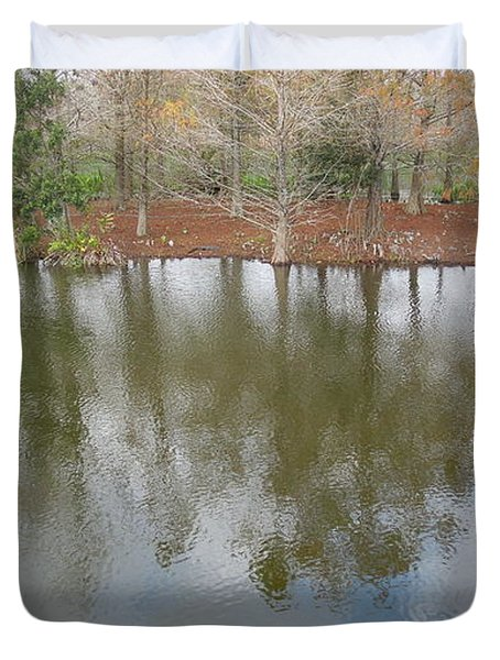 Duvet Cover featuring the photograph Trees And Water by Ron Davidson