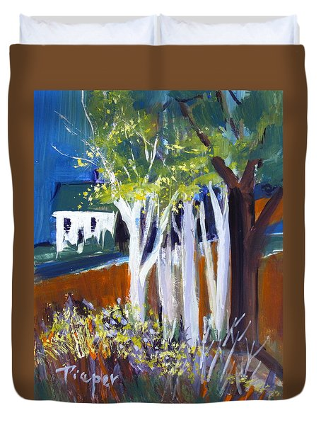 Trees And White Farm House Duvet Cover by Betty Pieper